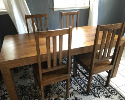 Solid Mango Wood Dining Table and 4 Chairs