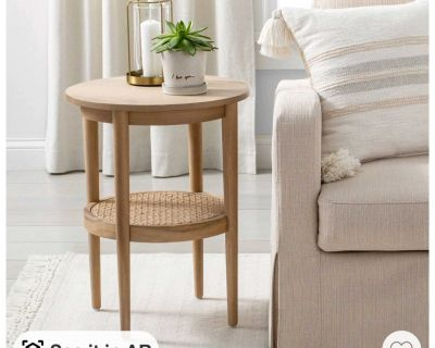 Wood & cane round accent table