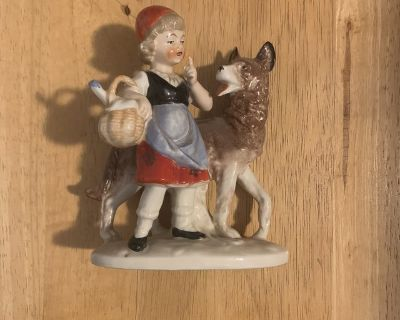 Grafenthal Red Cap And Grey Wolf Vintage Porcelain Figurine