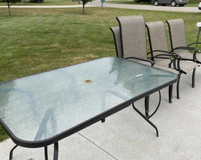 Patio table and four chairs