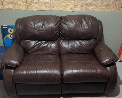TWO Leather Reclining Love Seats