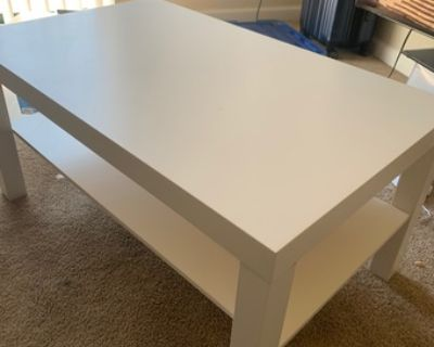 Selling Ikea coffee table + Half length mirror + gold plated lamp