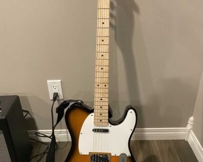 Fender Squier Affinity Telecaster with Fender Mustang 1 (v2) Amp with foot switch