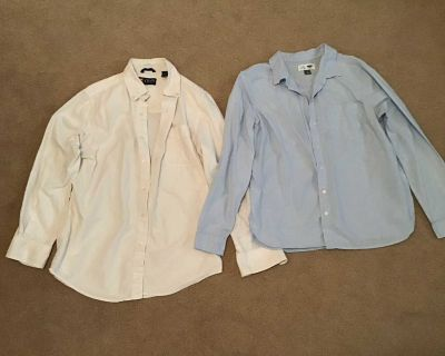 Chaps white size S & Old Navy light blue size L ladies long sleeve with pocket