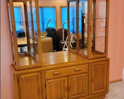 Solid Wood Glass Door Dining Room Hutch