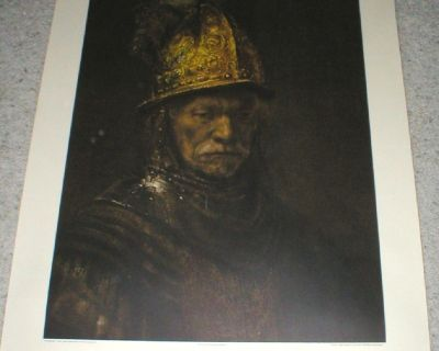 """Rembrandt """"Man in a Golden Helmet"""" Litho Print - Embossed Seal - Printed in Germany"""