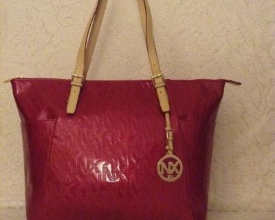 100% Vegan -NEW ABA Collection by NX shopper-tote in raspberry patent leather,purse,handbag