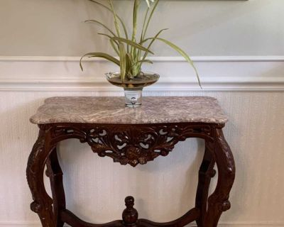 Solid wood accent table with marble top