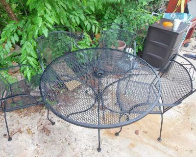 Wrought iron patio table sets $195-$325 set 7O39666l95 appointment only near pet center 8307Yorkshire lane call after telling interested n