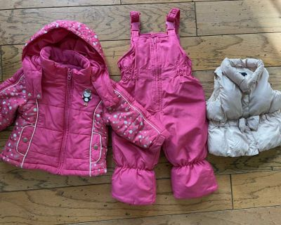 Toddler winter coat, snow pants, and vest
