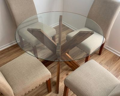Dining Table & Four Tan Chairs