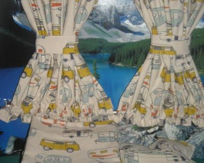 VW Bus Camper Print Curtains Fits Bay Window Model