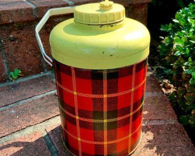 "Vintage 50's Plaid CHEINCO 11"" Metal Water Cooler w/ Glass Jar Liner"