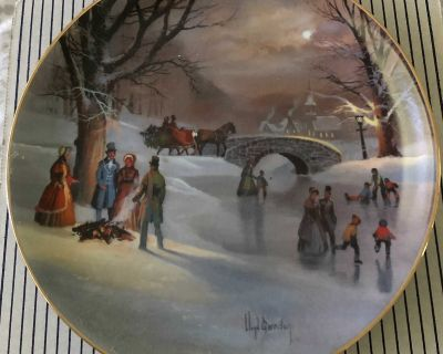 Holiday skaters collector plate