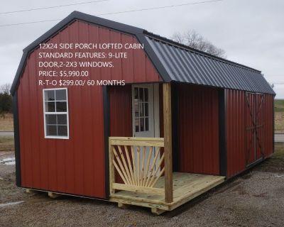 12x24 Side Porch Lofted Cabin