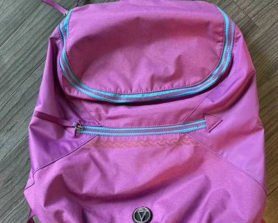 Ivivva backpack. Zippers are amazing. Inside pocket for papers or laptop. Lg front zipper pocket too.
