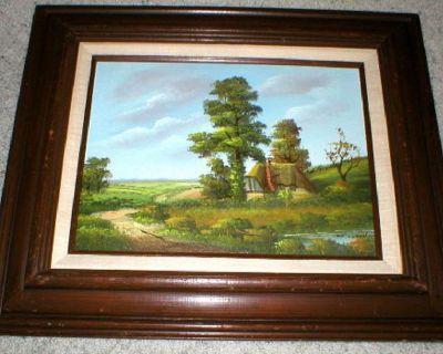 Old Country Cottage - Original Oil on Canvas - Framed Vtg Art - Signed