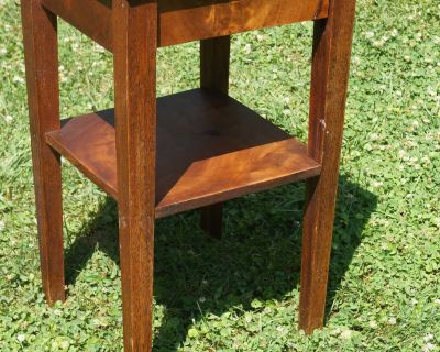 Antique Two Tier Wood Side Table - Walnut