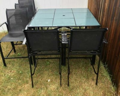 Six chairs and patio table