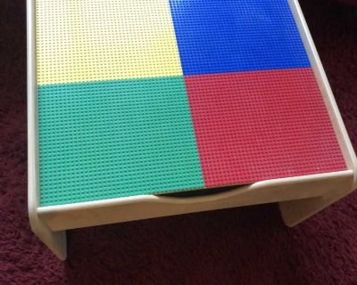 Lego table with train table on other side (not perfect ) otherwise euc super nice wood /heavy duty