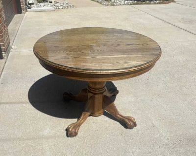 42 Round Antique Oak Claw Foot Dining Table with Glass Top