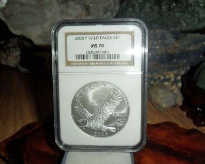 2008 P Silver Dollar Bald Eagle NGC MS 70 Perfect Coin