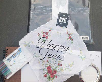 Wedding scrapbook & metallic markers painting pens, 2 photo albums plus extra hankie
