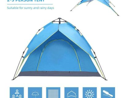 4-Person Camping Tent OutdoorFamily Double Layers Two Doors Hydraulic Automatic