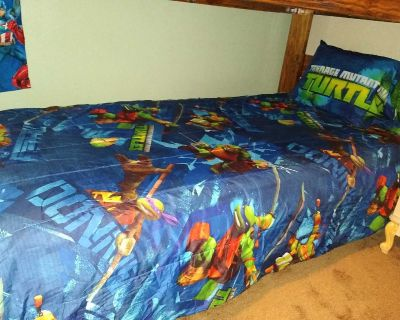 TMNT reversible comforter, sheet set & curtains, excellent used condition