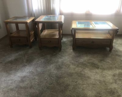 End tables and Coffee table with fold up/down sides