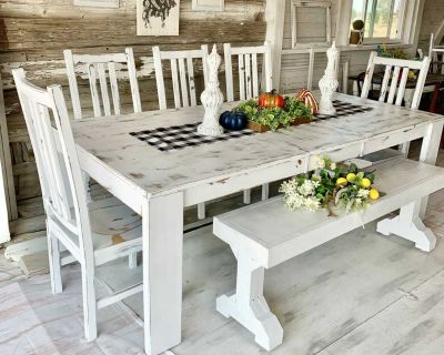 Large kitchen / dining table chairs and bench
