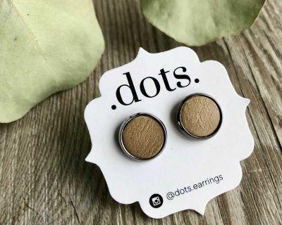 Dots Genuine Leather Khaki Studs