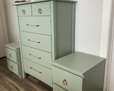 Beautiful sage green bedroom set, dresser and night stands