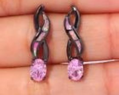 New - Dainty Pink Opal and Pink Topaz Black Earrings