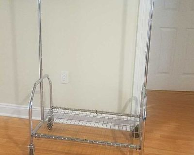 Clothes Rack. Multiple level heights. Extending side bars. Breaks down portability. $25