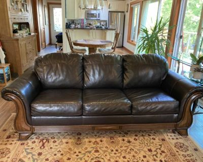 Leather sofa bed (queen size)and love seat.