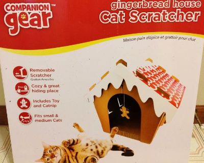 New Companion Gear Gingerbread House Cat Scratcher, for small & medium cats