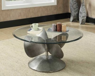 Aged metal coffee table