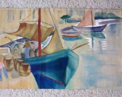 Vintage Sailboats Original WATERCOLOR - Nautical Scene