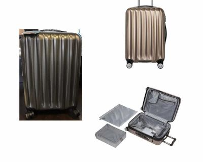 """Ricardo Big Sur 22"""" Hardside Carry-On Luggage Spinner with Packing Cubes- Tan(Latte)"""