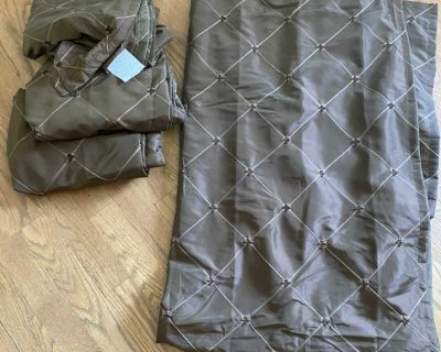 Set of 4 chocolate brown blackout curtains