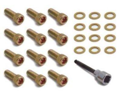 "Chrysler 273-440 Intake Manifold Allen Bolt Set W/ Tool 3/8""-16x1"" Gold 12 Pcs"