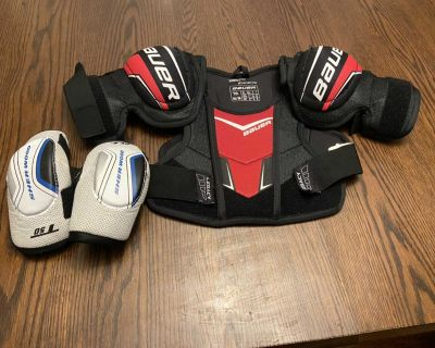 Bauer Hockey shoulder pads and Sherwood elbow pads