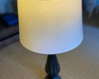 Lamp with shade, Brand new-closet organizers, shower caddy