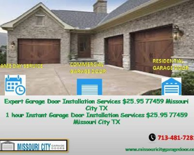 24/7 Residential Garage Door Repair ($25.95) Missouri City Houston, 77459 TX