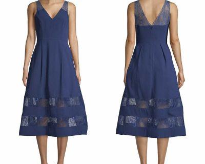 NWT $220 Aidan Mattox Blue Lace Trim V Neck Sleeveless Midi Flare Pleated Dress 2