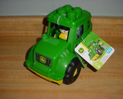 New John Deere Sturdy Mega Blocks 6-Piece Lil' Tractor. This John Deere Tractor Has A Removable Pronged Roof That Lets Your Little Farmer...