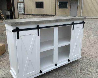 Custom Built Farmhouse Barn Door TV Console Stand Entertainment Center