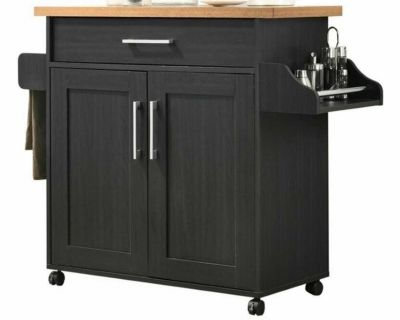 Hodedah kitchen island with wheels and cabinets and spice rack in beech black
