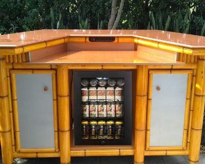 Bamboo Tiki Bar, outdoor patio bar, storage cabinets, mini fridge ready, dining table